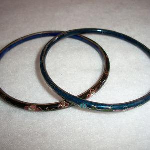 Vintage Pair CLOISONNE Bangle Bracelets
